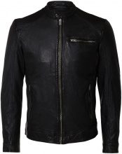 SELECTED Lamb Leather - Leather Jacket Men Black