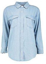 Claudia camicia di jeans oversize ad effetto slavato