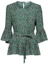 SELECTED Flower - 3/4 Sleeved Blouse Women Green