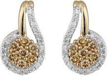 Jewelili Donna  9 carati  oro rosa Rotonda   marrone Diamante