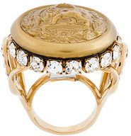 Dolce & Gabbana - Anello sigillo 'Lion' - women - Brass/Crystal - S - YELLOW & ORANGE