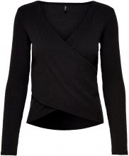 ONLY Wrap Long Sleeved Top Women Black