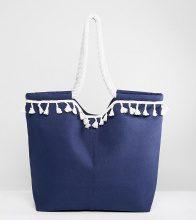 South Beach - borsa da spiaggia blu navy con pompon bianco - Navy