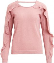 VILA Ruffle Knitted Top Women Pink
