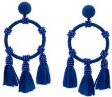 Oscar de la Renta - raffia hoop earrings - women - Raffia/Brass/glass - One Size - BLUE