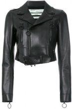 Off-White - Giacca corta - women - Viscose/Polyamide/Spandex/Elastane/Leather - 40, 42 - BLACK
