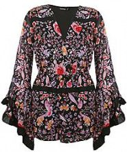 Jenny Wrap Front Floral Balloon Sleeve Playsuit