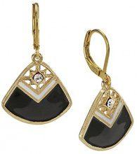 1928 Jewelry - Orecchini con pendente a forma di ventaglio decorato con brillantini, smalto nero e bianco su base oro
