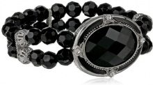 1928 Jewelry Orecchini in argento, motivo ovale con cristallo sfaccettato colore nero, braccialetto elastico con perline, lunghezza 17 cm