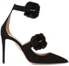 Aquazzura - fur buckle stiletto pumps - women - Suede/Calf Leather - 37, 37.5, 38, 38.5, 39, 40, 41 - BLACK