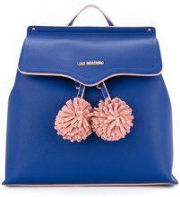 Love Moschino - pompom-detail backapack - women - Polyurethane - OS - BLUE