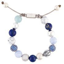 Nialaya Jewelry - braccialetto con perline - women - Silver - XS, S, M, L - BLUE