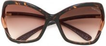 Tom Ford Eyewear - Occhiali da sole oversized - women - Acetate - 61 - BROWN