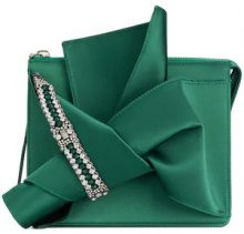 Nº21 - embellished abstract bow clutch bag - women - Silk/Glass Fiber - OS - GREEN