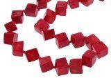 Collana di corallo, corallo naturale, cubo, rosso, 10mm