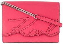 Karl Lagerfeld - Borsa a tracolla 'K/Signature Essential' - women - Leather - OS - PINK & PURPLE