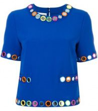 Moschino - embellished shortsleeved blouse - women - Polyester/Triacetate - 42, 46 - BLUE