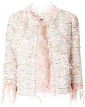 Blumarine - Giacca con bordo di piume - women - Polyamide/Polyester/Cotone/Acrylic - 42, 44, 40 - NUDE & NEUTRALS