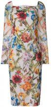 Dolce & Gabbana - floral print midi dress - women - Silk/Spandex/Elastane - 42 - WHITE