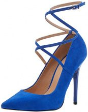 Office Hilda W, Scarpe con Cinturino Alla Caviglia Donna, Blue (Blue Suede), 37 EU