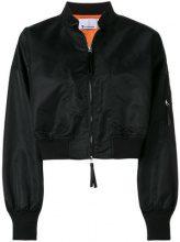 T By Alexander Wang - cropped bomber jacket - women - Nylon/Polyester/Acrylic/Spandex/Elastane - L, S, M - BLACK