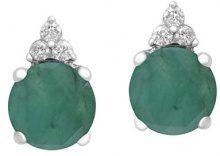 Jewelili, orecchini a perno in argento sterling con gemma e diamante, argento, colore: White, cod. 105868Z/SILEB/RDR4/T1/SILEB/STD