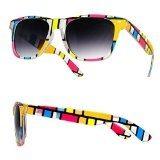 F4n Wayfarer-Occhiali da sole da uomo, da donna, motivo: Rock Star, stile Vintage, colore: nero, con lenti Mirage, colore: giallo