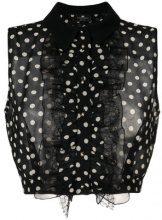 Elisabetta Franchi - Top crop con motivo a pois - women - Polyester/Viscose/Polyamide/Cotton - 40, 44 - BLACK
