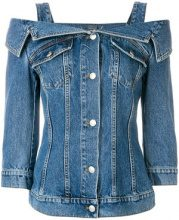 Alexander McQueen - cold shoulder denim jacket - women - Cotton - 40, 38, 42, 44 - BLUE
