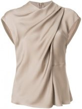 Giorgio Armani - draped neck blouse - women - seta di gelso - 40, 42, 44 - BROWN