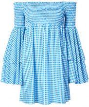 Caroline Constas - checked off shoulder dress - women - Cotton - XS - BLUE