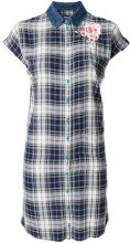 Diesel - Vestito a quadri modello camicia - women - Cotton/viscose - L - BLUE