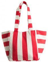 PIECES Striped Canvas Shoulder Bag Women Red