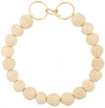 Carolina Herrera - raffia beads necklace - women - Raffia/Bronze - OS - NUDE & NEUTRALS