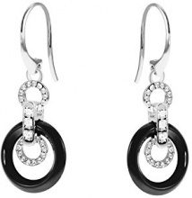 Stella Maris Diamante Orecchini da donna in argento Sterling 925Premium ceramica nero zirconi–STM15J020