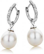 Miore Orecchini Donna Perle di fiume Cerchio Diamanti taglio Brillante ct 0.08 Oro Bianco 9 Kt/375
