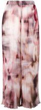 Ermanno Gallamini - Pantaloni crop plissé con stampa effetto sfuocato - women - Polyester - S, M - MULTICOLOUR
