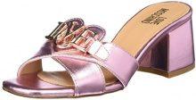 Love Moschino Sabotd.616/50 Lamin.Pu, Scarpe col Tacco Punta Aperta Donna, Rosa (Pink), 38 EU