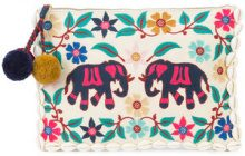 Figue - Elephant Garden clutch - women - Cotton/Acrylic/Nylon/Shell - One Size - WHITE