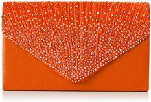 SwankySwansAbby Diamante Envelope Style Bag - Sacchetto donna, Arancione (Arancio (arancione)), M