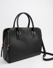 ASOS DESIGN - Maxi borsa con scomparto con zip oro rosa e tracolla rimovibile - Nero
