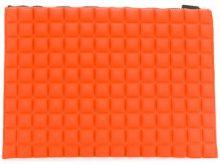 No Ka' Oi - large grid textured pouch - women - Polyurethane/Polyamide/Spandex/Elastane - OS - YELLOW & ORANGE