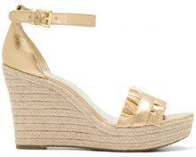Michael Michael Kors - wedge heel ruffle sandals - women - Goat Skin/Leather/rubber - 5, 7, 8.5, 9 - METALLIC