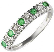 Ivy Gems - Anello in oro bianco (9 carati), con smeraldi e diamanti a forma di stelle, Green, 9 5/8