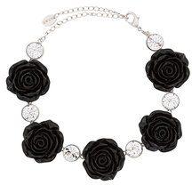 G.V.G.V. - Choker con rose e diamanti sintetici - women - Polyester/Brass - OS - BLACK