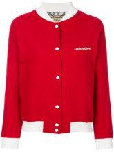 Maison Kitsuné - Bomber con logo - women - Cotton/Polyester/Leather/Calf Leather - S - RED