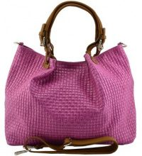 Borsa Shopping Dream Leather Bags Made In Italy  Borsa A Spalla In Vera Pelle Colore Fucsia - Pelletteria Toscana
