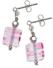 Amanti Venezia-Collana in argento Sterling a forma di cubo, in autentico vetro di Murano-Orecchini a goccia, colore: rosa