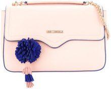 Love Moschino - pompom-detail satchel - women - Polyurethane - OS - PINK & PURPLE