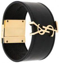 Saint Laurent - Bracciale rigido con monogramma - women - Leather/Brass - S, M, L - BLACK